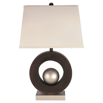 Lite Source Circuline 1 Light Table Lamp (Lamp Only) - Dark Walnut, Satin Steel