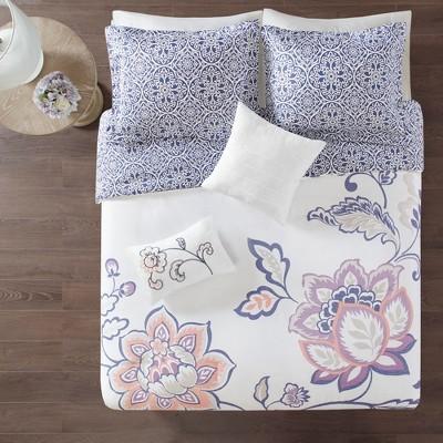 5pc Eveleen Reversible Print Duvet Cover Set