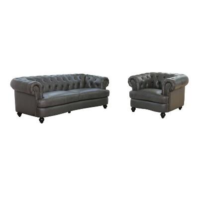 Harlow Tufted Top Grain Leather Sofa & Armchair Gray - Abbyson Living