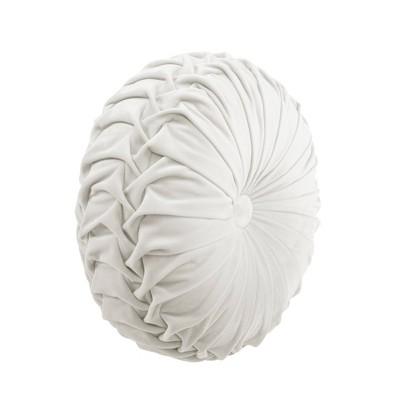 15 pleated round throw pillow white lush decor
