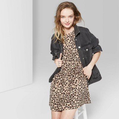 Women's Animal Print Short Sleeve Round Neck Knit Babydoll Dress - Wild Fable™ Pearl