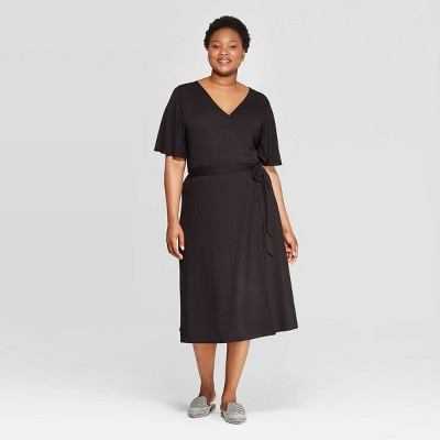 Women's Plus Size Short Sleeve V-Neck Knit Wrap A-Line Dress - Ava & Viv™