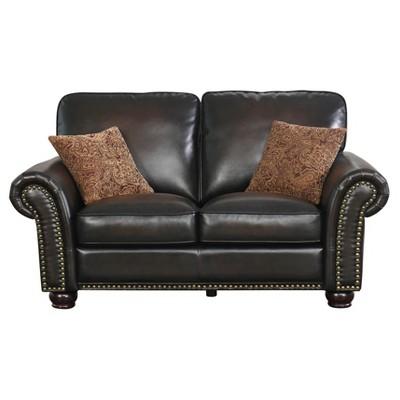Trenton Bonded Leather Loveseat Dark Brown - Abbyson Living