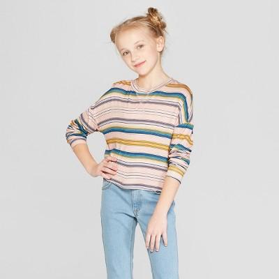 Girls' Long Sleeve Striped T-Shirt - Art Class™ Pink