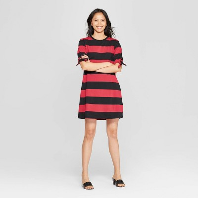 Women's Striped Short Knotted Sleeve Crewneck T-Shirt Dress - Who What Wear&#153