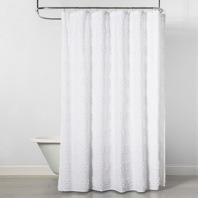 Textured Fringe Shower Curtain White - Opalhouse™