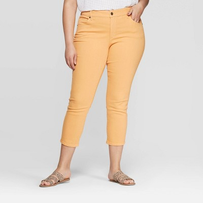 Women's Plus Size Skinny Cropped Jeans - Universal Thread™ Yellow