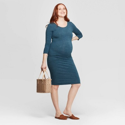 Maternity 3/4 Sleeve Midi T-Shirt Dress - Isabel Maternity by Ingrid & Isabel™ Green Heather
