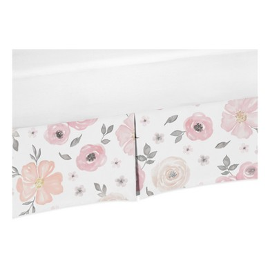 Sweet Jojo Designs Pink and Gray Watercolor Floral Crib Bed Skirt