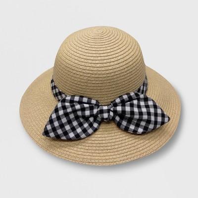 Baby Girls' Gingham Bow Bucket Floppy Hats - Cat & Jack™ Beige 12-24M