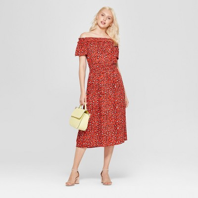 Women's Floral Print Off The Shoulder Midi Dress - A New Day™
