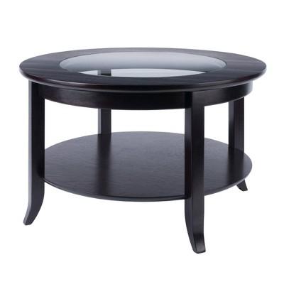 genoa coffee table glass inset and shelf dark espresso winsome