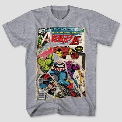 Men's Marvel Avengers Short Sleeve Comic Mashup Graphic T-Shirt - Iceberg Heather