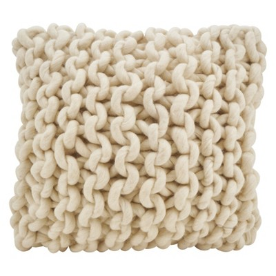 18 x18 chunky knit square throw pillow cream saro lifestyle
