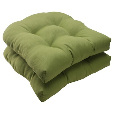 outdoor 2 piece wicker seat cushion set green forsyth solid
