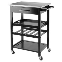 Stainless Kitchen Cart Wall Hanging Ideas Anthony Steel Top Wood Black Winsome Target