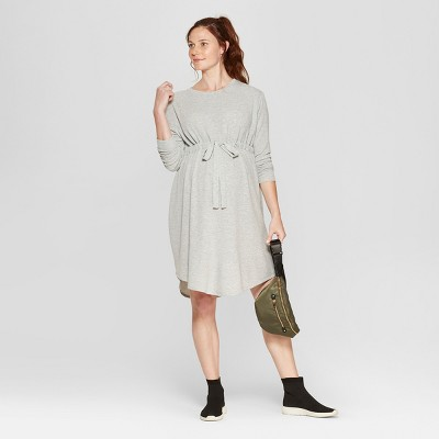 Maternity Tie Waist Sweatshirt Dress - Isabel Maternity by Ingrid & Isabel™ Light Heather Gray
