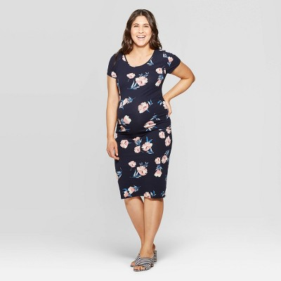 Maternity Floral Print Short Sleeve Round Neck Shirred T-Shirt Dress - Isabel Maternity by Ingrid & Isabel™ Navy