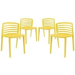 Dining Chairs Set Of 4 Target Directors Chair With Side Table Curvy Yellow Modway