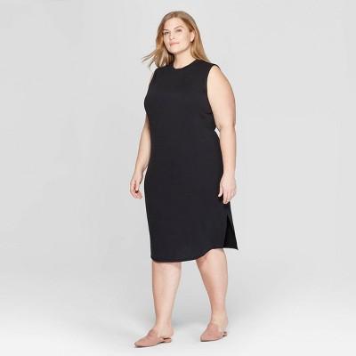 Women's Plus Size Sleeveless U-Neck Knit Midi Dress - Prologue™