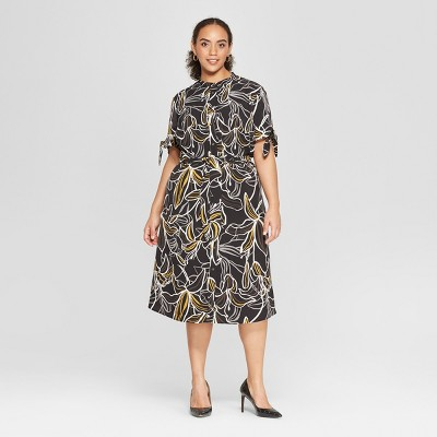 Women's Plus Size Short Sleeve Knotted Midi Shirt Dress - Who What Wear™