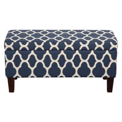 homepop geo brights collection storage bench navy blue