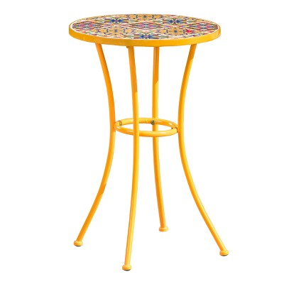 barnsfield ceramic tile side table yellow christopher knight home