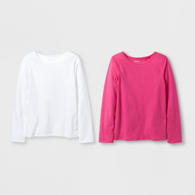 Girls' 2pk Adaptive Long Sleeve T-Shirt - Cat & Jack™ Pink/White
