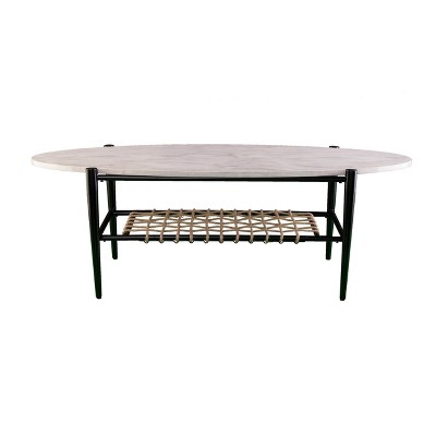 relckin faux marble cocktail table white black holly martin