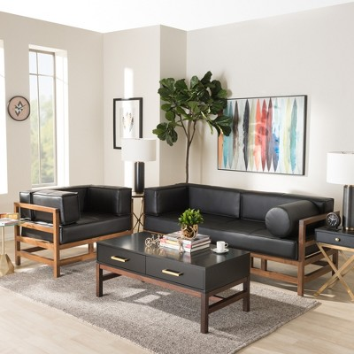 walnut furniture living room modern farmhouse shaw midcentury pine faux leather wood 2pc sofa set black baxton studio target
