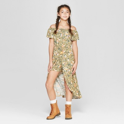 Girls' Floral Off The Shoulder Floral Walk Through Romper - art class™ Olive Green