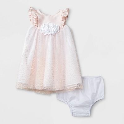 Mia & Mimi Baby Girls' Lacquer Dot Dress - Light Pink