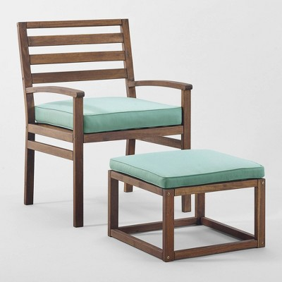 2pc acacia wood outdoor patio chair pull out ottoman dark brown blue saracina home