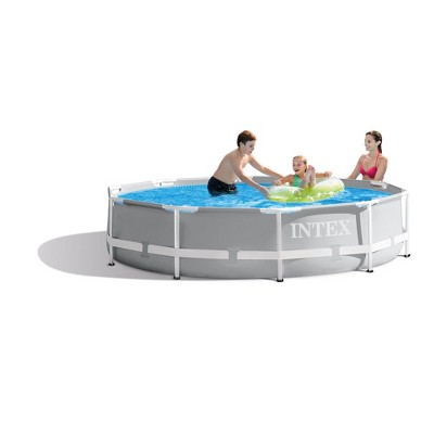 Intex 10 Foot X 30 Inch Prism Frame Steel Above Ground Outdoor Swimming Pool