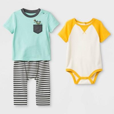 Baby Boys' 3pc Pocket T-Shirt, Raglan Bodysuit, Span Jersey Leggings Set - Cat & Jack™ Yellow/Green/Black