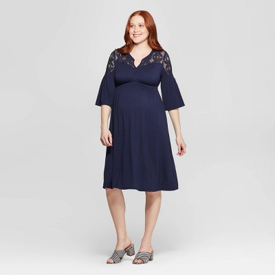 Maternity Lace Detail Knit Dress - Isabel Maternity by Ingrid & Isabel™ Xavier Navy