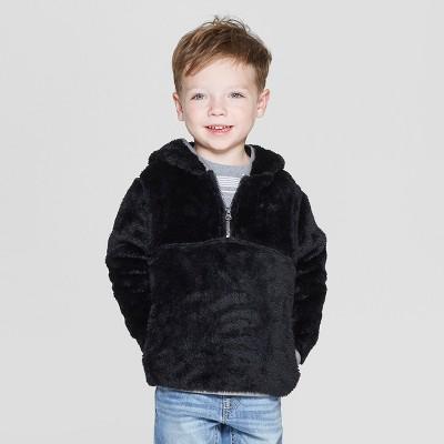 Toddler Boys' Teddy Bear Fleece Hoodie - Cat & Jack™ Black