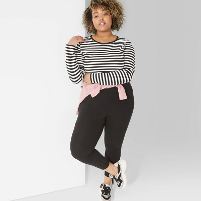Women's Plus Size High-Waist Leggings - Wild Fable™ Black