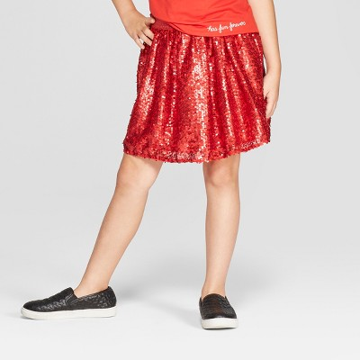 Girls' Sequin Short A Line Skirt - Cat & Jack™ Red