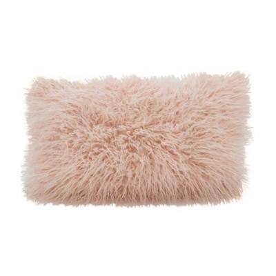 12 x20 poly filled faux mongolian fur pillow rose saro lifestyle