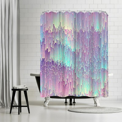 americanflat iridescent glitches by emanuela carratoni 71 x 74 shower curtain