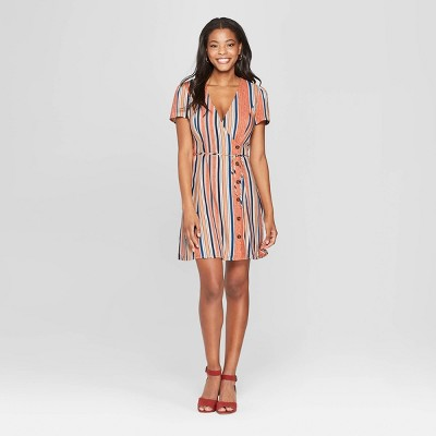 Women's Striped Short Sleeve Side Button Wrap Dress - Xhilaration™
