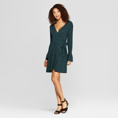 Women's Long Sleeve Ribbed Hacci Wrap Dress - Xhilaration™