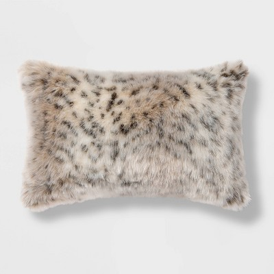 oblong faux fur decorative throw pillow animal print threshold