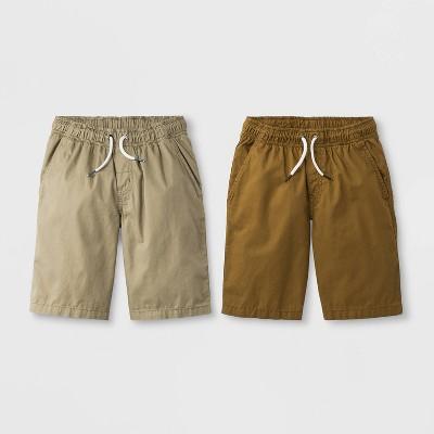 Boys' 2pk Woven Chino Pull-On Shorts - Cat & Jack™ Brown/Khaki