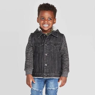 Toddler Boys' Denim Jacket With Hoodie - art class™ Black