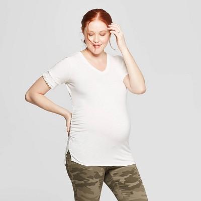 Maternity Short Sleeve V-Neck Lace Trim T-Shirt - Isabel Maternity by Ingrid & Isabel™ Cream
