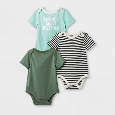 Baby Girls' 3pk Lap Shoulder Short Sleeve Bodysuits - Cat & Jack™ Blue/Green/Black
