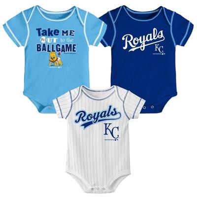MLB Kansas City Royals Boys' 3pk Bodysuit Set