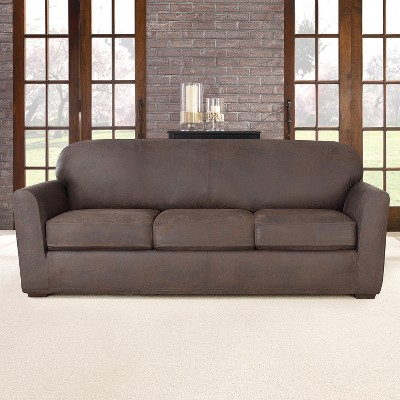 4pc Ultimate Stretch Leather Sofa Slipcover - Sure Fit